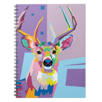 Colorful Pop Art Deer Portrait Notebook