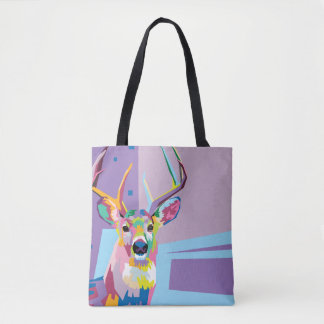 Colorful Pop Art Deer Portrait Tote Bag