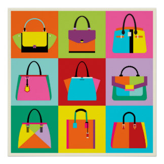 Colorful pop art feminine bags set poster