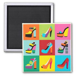 Colorful pop art feminine shoes set magnet