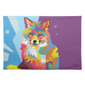 Colorful Pop Art Fox Portrait Placemat