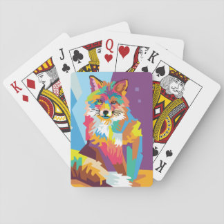 Colorful Pop Art Fox Portrait Playing Cards