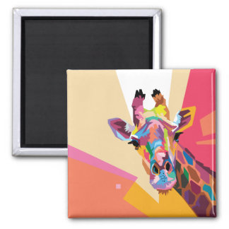 Colorful Pop Art Giraffe Portrait Magnet