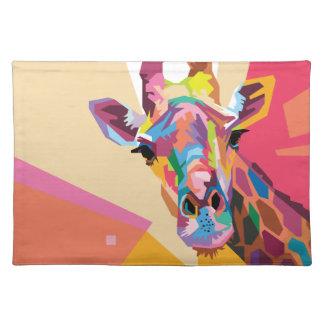 Colorful Pop Art Giraffe Portrait Placemat