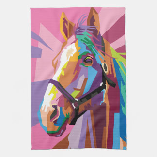 Colorful Pop Art Horse Portrait Tea Towel