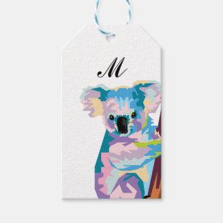Colorful Pop Art Koala Monogrammed Gift Tags