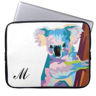 Colorful Pop Art Koala Monogrammed Laptop Sleeve