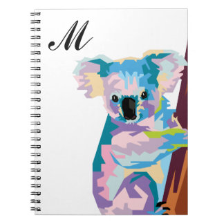 Colorful Pop Art Koala Monogrammed Notebook