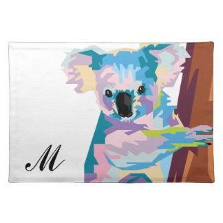 Colorful Pop Art Koala Monogrammed Placemat