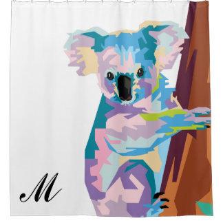 Colorful Pop Art Koala Monogrammed Shower Curtain