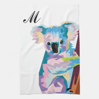 Colorful Pop Art Koala Monogrammed Tea Towel