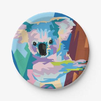 Colorful Pop Art Koala Portrait Paper Plate