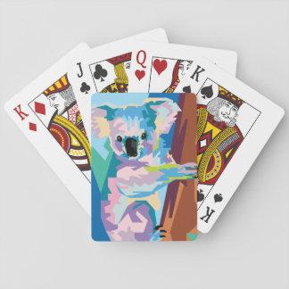 Colorful Pop Art Koala Portrait Playing Cards