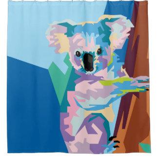 Colorful Pop Art Koala Portrait Shower Curtain