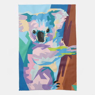 Colorful Pop Art Koala Portrait Tea Towel