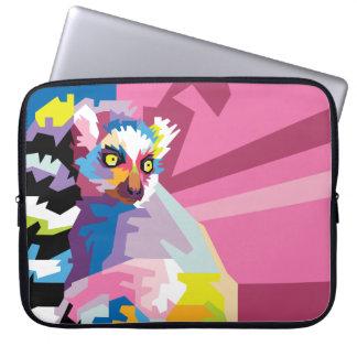 Colorful Pop Art Lemur Portrait Laptop Sleeve