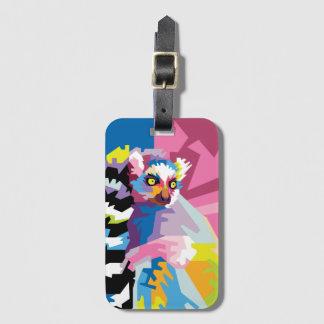 Colorful Pop Art Lemur Portrait Luggage Tag