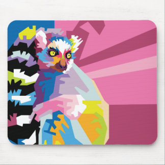 Colorful Pop Art Lemur Portrait Mouse Pad