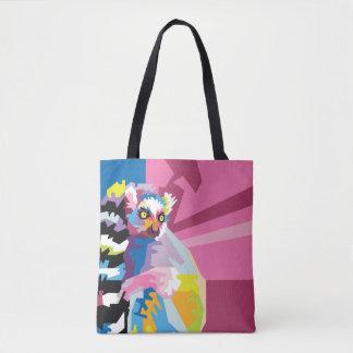 Colorful Pop Art Lemur Portrait Tote Bag