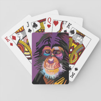 Colorful Pop Art Monkey Portrait Playing Cards