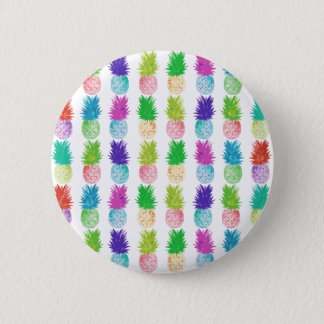Colorful pop art painting pineapple pattern 6 cm round badge