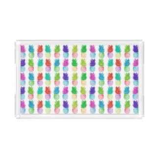 Colorful pop art painting pineapple pattern acrylic tray
