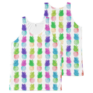 Colorful pop art painting pineapple pattern All-Over print singlet