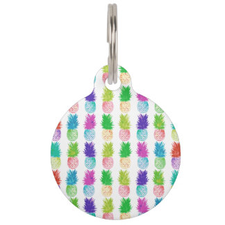 Colorful pop art painting pineapple pattern pet name tag