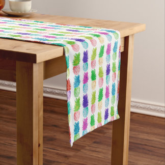 Colorful pop art painting pineapple pattern short table runner