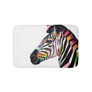 Colorful Pop Art Zebra on White Background Bath Mat