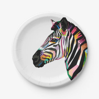 Colorful Pop Art Zebra on White Background Paper Plate