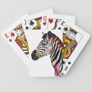 Colorful Pop Art Zebra on White Background Playing Cards