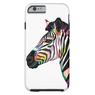 Colorful Pop Art Zebra on White Background Tough iPhone 6 Case
