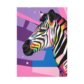Colorful Pop Art Zebra Portrait Canvas Print