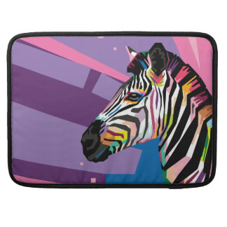 Colorful Pop Art Zebra Portrait Sleeve For MacBooks