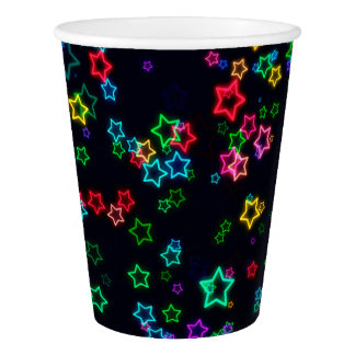 Colorful Pop Neon Star Paper Cup