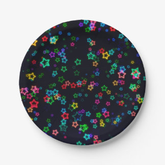 Colorful Pop Neon Star Paper Plate