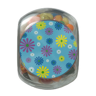 Colorful popart floral pattern candy jar glass candy jar