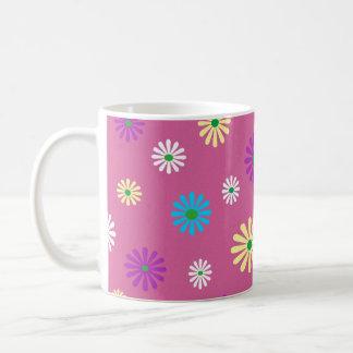 Colorful popart flower pattern basic white mug