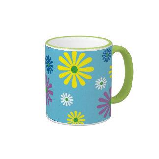 Colorful popart flower pattern mug