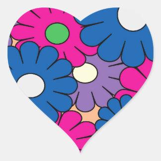 Colorful popart flowers pattern heart sticker