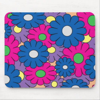 Colorful popart flowers pattern mouse pad