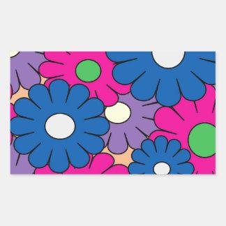 Colorful popart flowers pattern rectangular sticker
