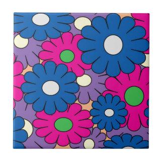 Colorful popart flowers pattern ceramic tile