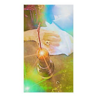 Colorful poster: cherry, ring, beer bottle, hand poster