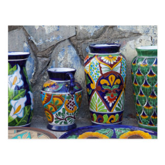 Colorful pottery for sale in downtown Loreto, Postcard
