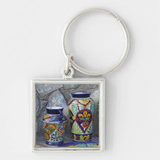 Colorful pottery for sale in downtown Loreto, Silver-Colored Square Key Ring