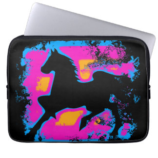 Colorful Prancing High-stepping Horse Silhouette Laptop Sleeve
