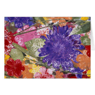 Colorful pressed flowers artistic greeting card