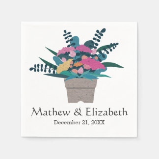Colorful Pretty Chic Colorful Flower Pot Wedding Paper Napkins